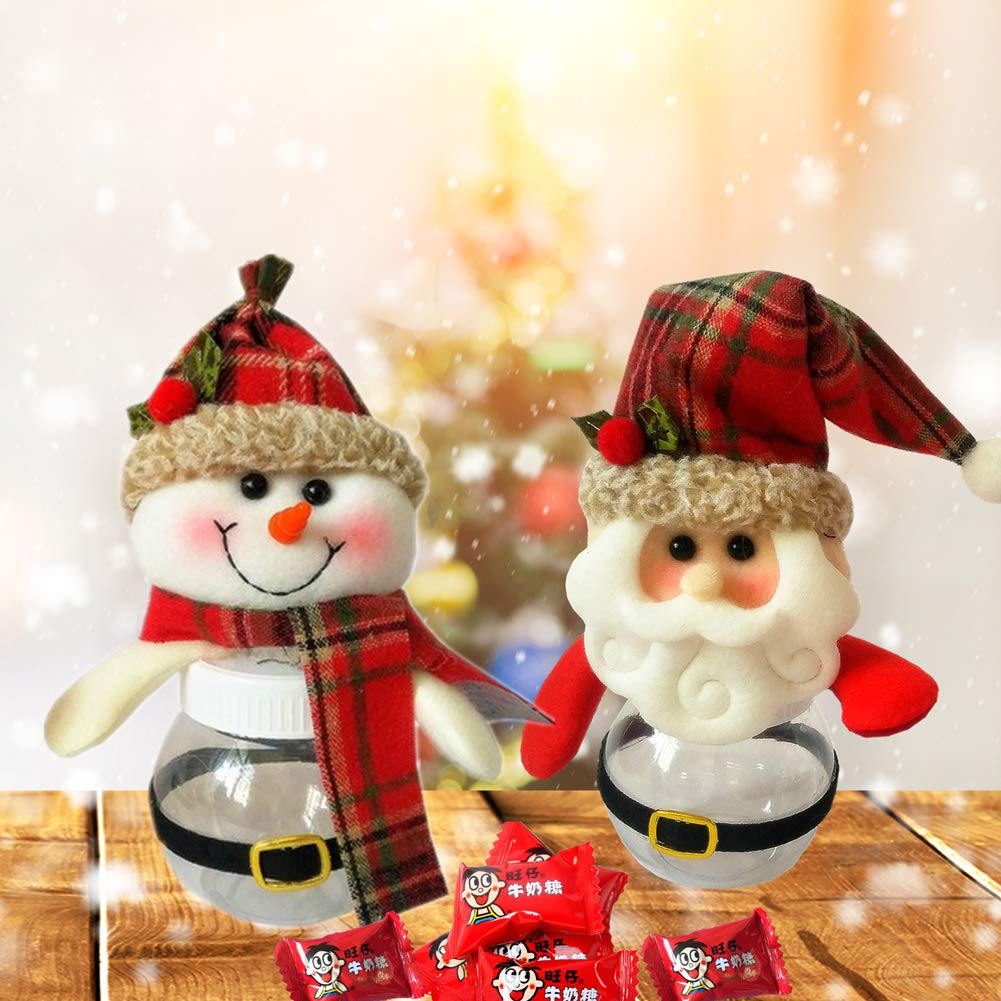 2Pcs Christmas Candy Jar Santa Claus Candy jar Snowman Candy jar Plastic Plush Candy Christmas Decorations Container Xmas Gift Party Decorations for Kids or Adults Gift and Home Decor