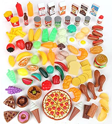 Play Food Set for Kids & Toy Food for Pretend Play - Huge 125 Piece Play Kitchen Set with Childrens Educational Food Toys for Toddlers Inspires Imagination - Fake Plastic Foods for Cooking & Grocery