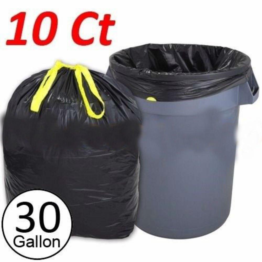 10 Ct Heavy Duty 30 Gallon Commercial Drawstring Trash Bag Garbage Yard (Black)
