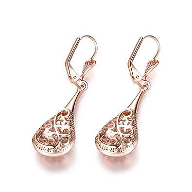 Amazoncom Naivo Rose Gold Filigree Teardrop Leverback Earrings