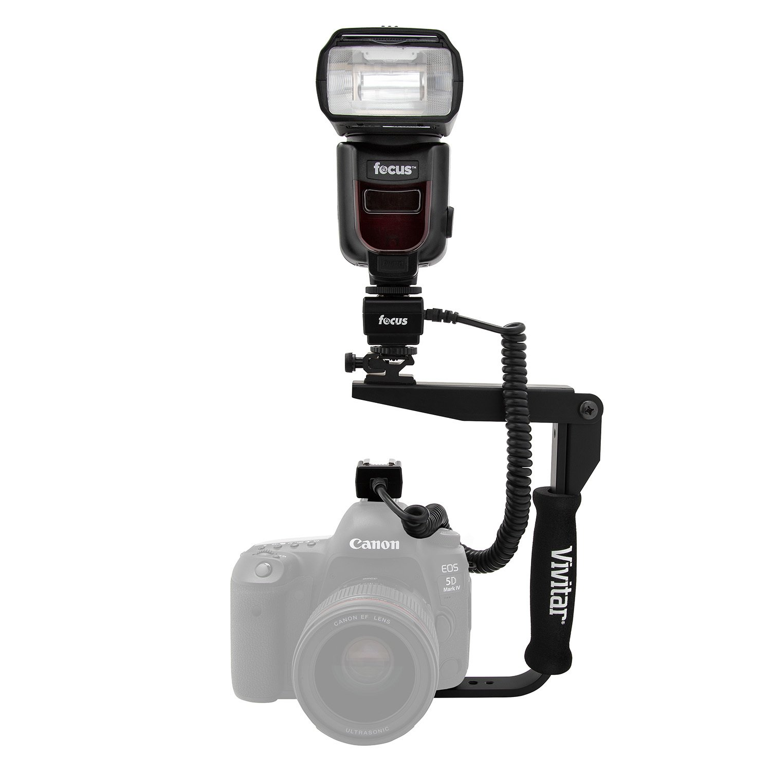 Focus Camera Professional Zoom TTL Speedlite Flash - with Built-in Transmitter/Receiver for Canon and Nikon DSLR Cameras + Off Camera Shoe Cord, Flash Bracket and Battery Charger Bundle
