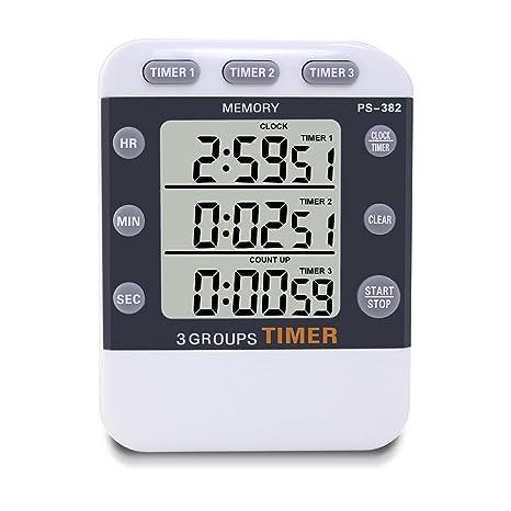 Temporizador de cocina digital, YoyoKit 3 canales simultáneos de tiempo de cocción magnética con pantalla