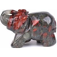 Justinstones Carved Natural African Bloodstone Gemstone Elephant Healing Guardian Statue Figurine Crafts 2 inch