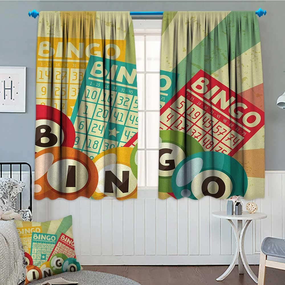 Anniutwo Vintage Blackout Window Curtain Bingo Game with Ball and Cards Pop Art Stylized Lottery Hobby Celebration Theme Customized Curtains 55'' W x 63'' L Multicolor by Anniutwo