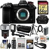Panasonic Lumix DC-G9 4K Wi-Fi Digital Camera Body with DMW-BGG9 Battery Grip + 64GB Card + Battery + Case + Flash + LED Light + Tripod Kit