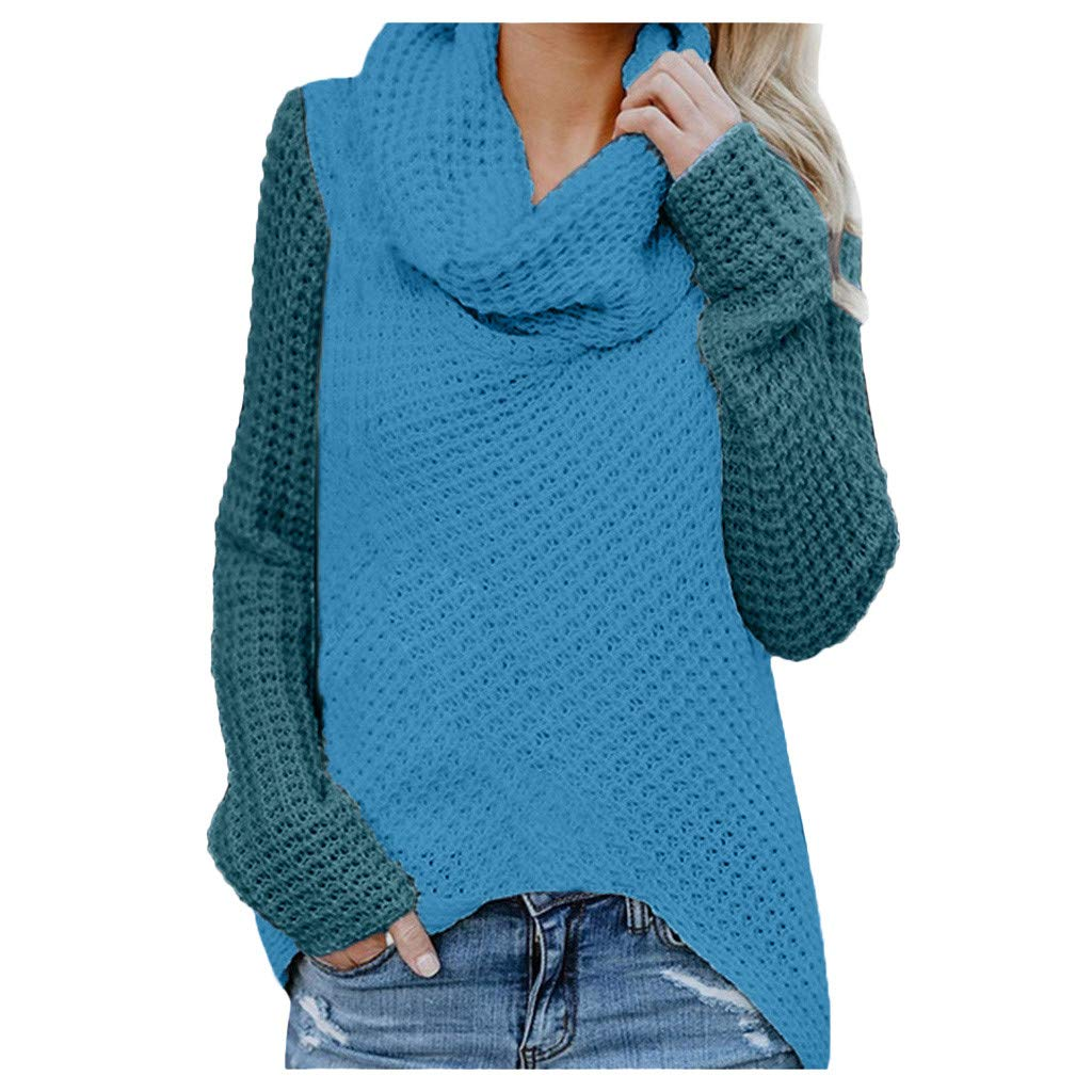 Womens Chunky Button Turtle Cowl Neck Asymmetric Hem Wrap Pullover Sweater