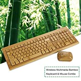 Koolertron Bamboo Wireless Keyboard and Optical Mouse Combo Full Qwerty Keyboard and Mini Portable Mouse Set