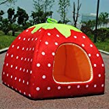 Pet Dog Puppy Strawberry Soft Dog Bed with Cushion Foldable House Puppy Home Review