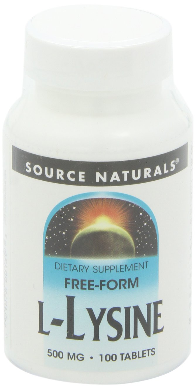 Source Naturals L-Lysine 500mg Free Form Essential Amino Acid Support Supplement - 100 Tablets by Source Naturals