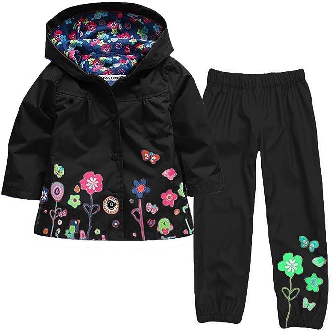 dccc45501537 CADong Girls  Raincoat Suit Waterproof Hooded Coat Outwear Jacket ...