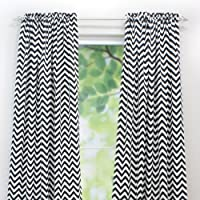 Brite Ideas Living Rod Pocket Curtain Panel, 54 by 108-Inch, Zig Zag Black