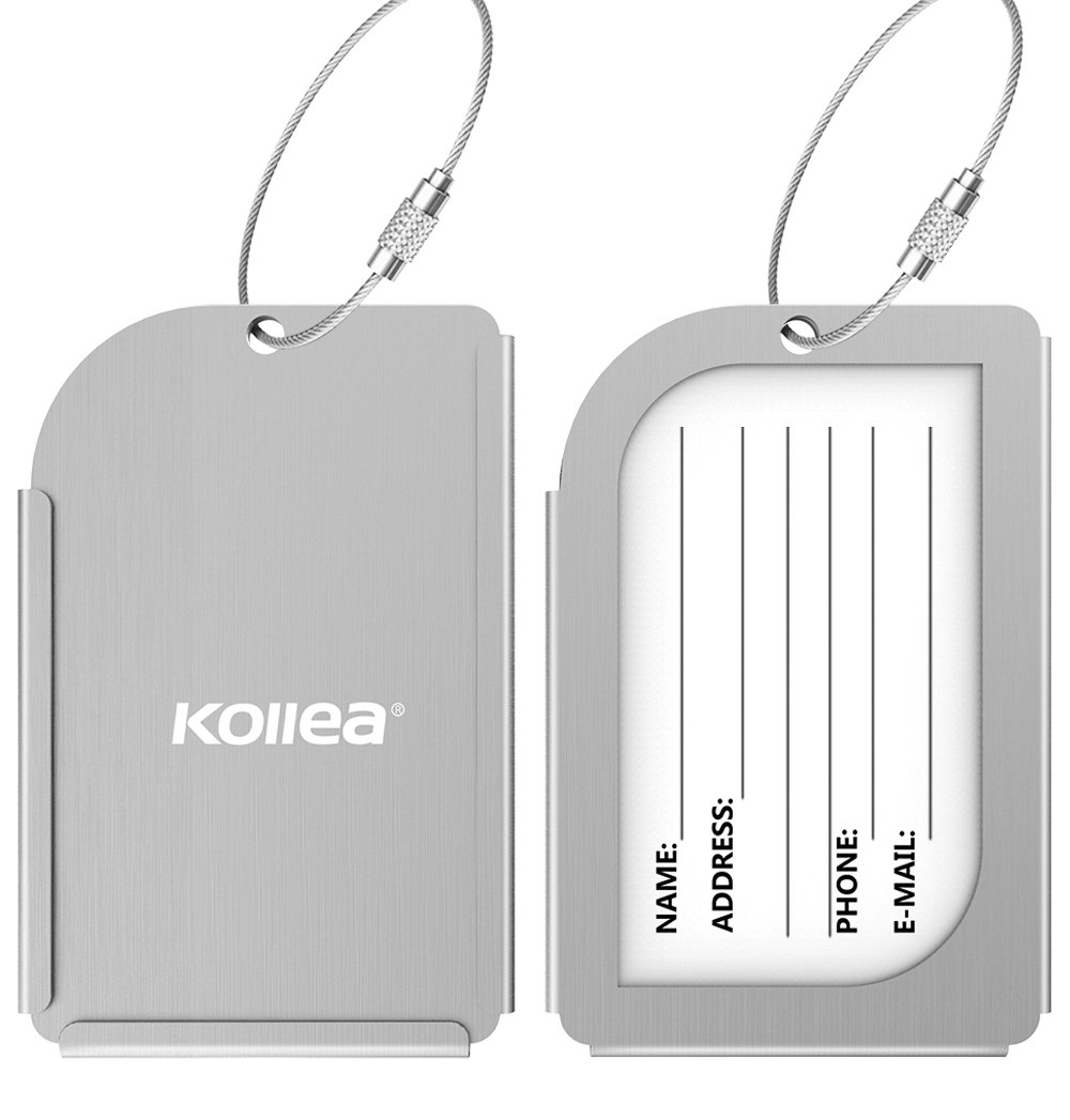 Amazon luggage tags kollea 2 pack aluminum business card amazon luggage tags kollea 2 pack aluminum business card holder travel id bag tag silver office products magicingreecefo Choice Image
