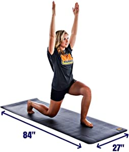"""Pogamat Large Exercise Mat 84"""" X 27"""" X 1/4"""" Thick - High Density Anti-Tear Workout Mat For All Types Of Fitness Training. Yoga Mat Lays Flat and does Not """"Bunch Up"""". Used With Or Without Shoes."""