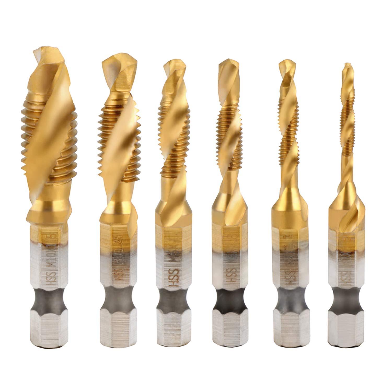 Spiral Drill Bit AMTOVL HSS Combination Drill Tap Bit 6pcs HSS Countersink Tap Drill Bit Set Titanium Coated Countersink Bit