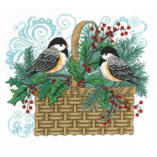 - M & R Technologies 2743 Winter Chickadee Basket Counted Cross Stitch Kit