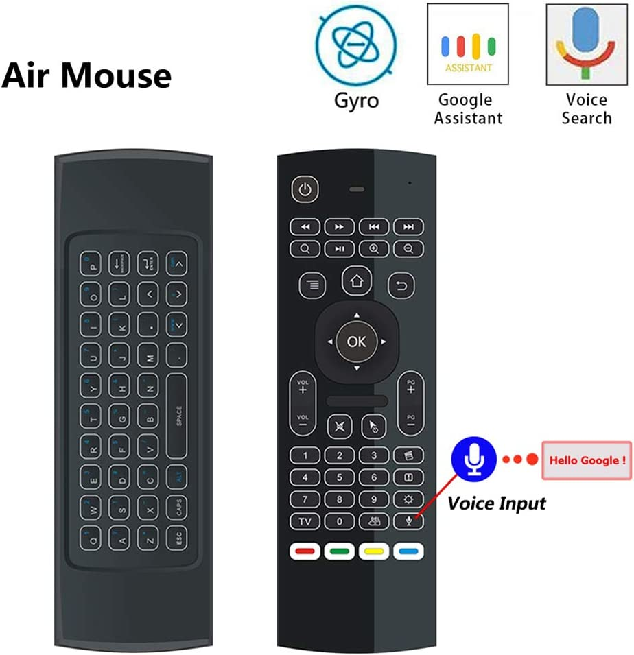 DZSF Retroiluminado Air Mouse T3 Voz Inteligente Control Remoto 2.4G Teclado inalámbrico RF Giroscopio de 6 Ejes para X96 Mini KM9 A95X H96 MAX Caja de TV para Android (1Pcs: Amazon.es: Deportes