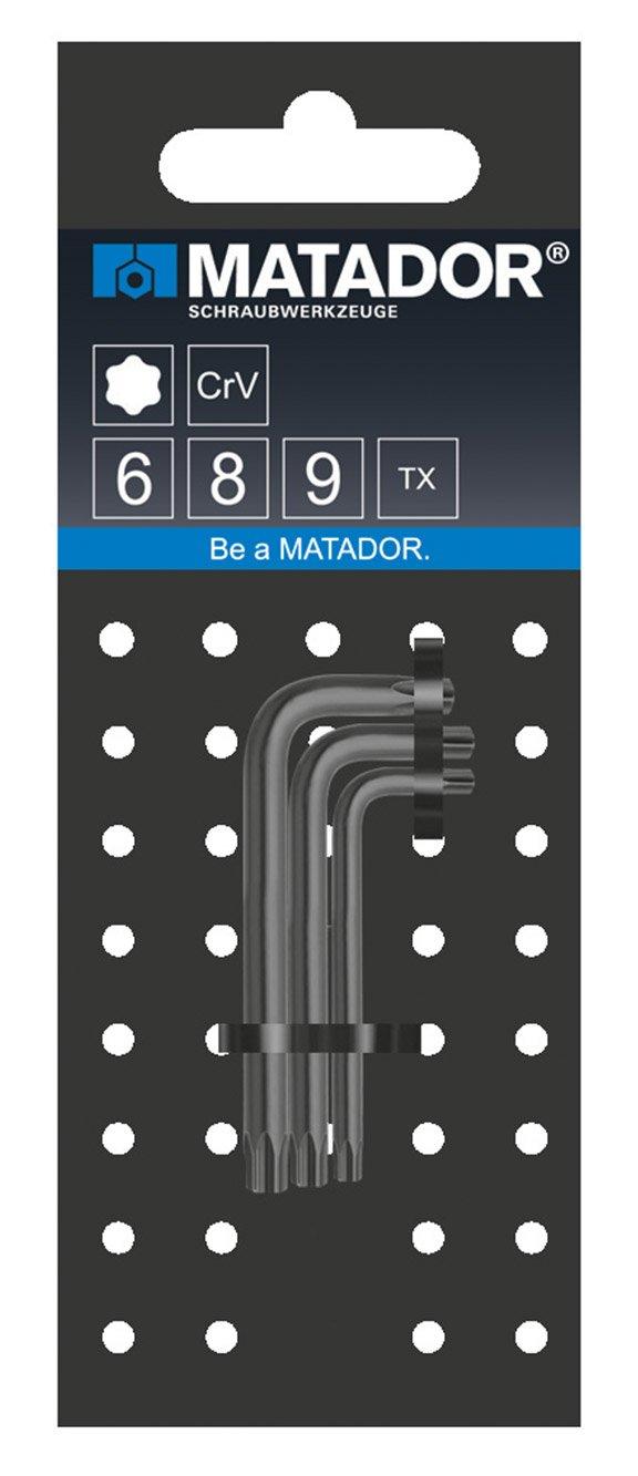 MATADOR 0443 9030 Satz Winkelschraubendreher Minis TORX T6//T8//T9