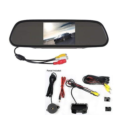 """WEPECULIOR Monitor de Espejo de vídeo para automóvil TFT LCD de 5"""" Colores con cámara"""