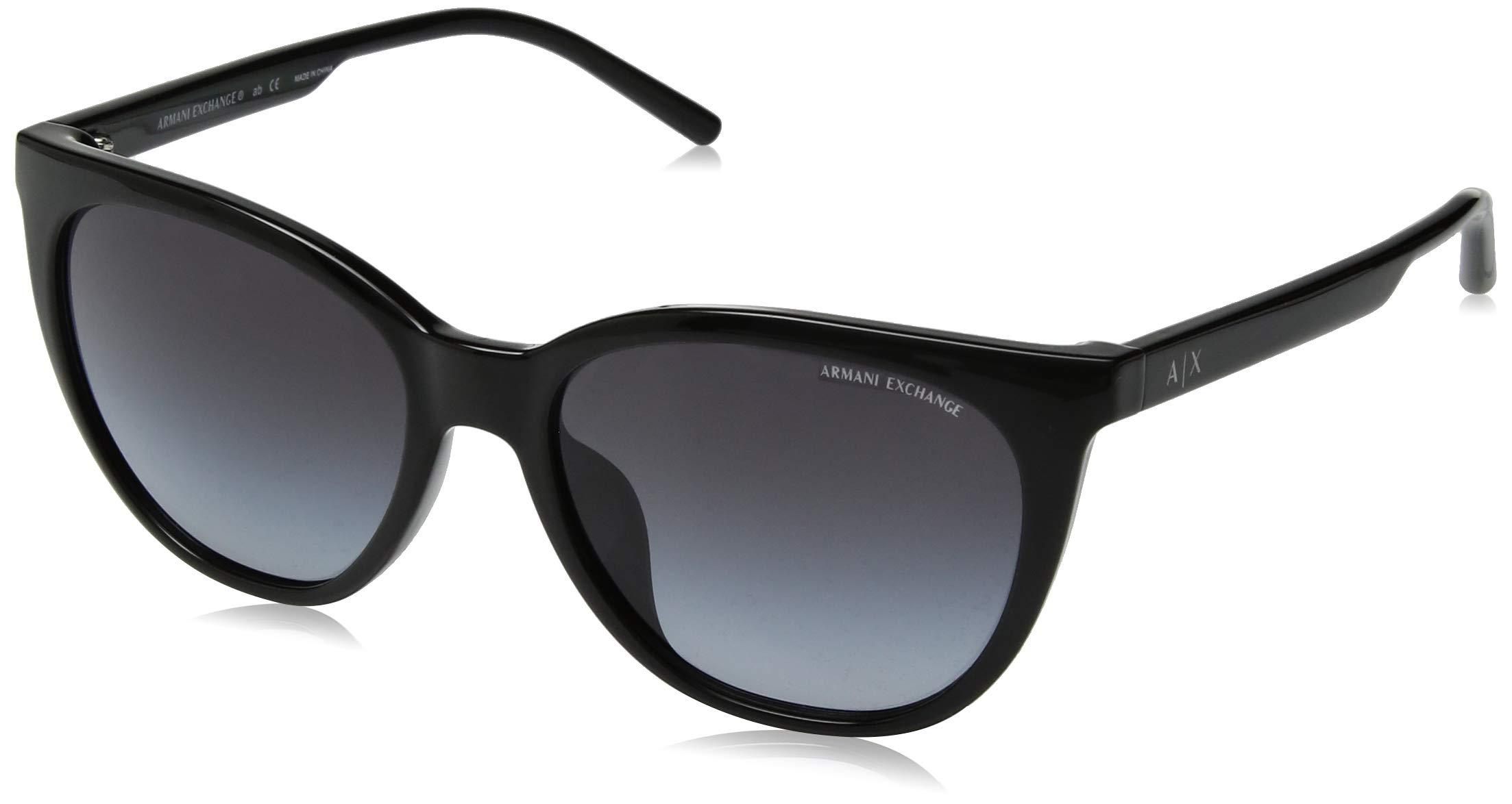 Armani Exchange Women's Plastic Woman Cateye Sunglasses, Black, 55 mm