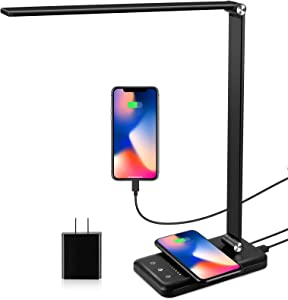 LED Desk Lamp with Wireless Charger, USB Charging Port, Modern Eye-Caring Desk Lamps for Home Office, 5 Lighting Modes and 10 Brightness Levels, Bright Table Light with Touch Control, 30/60 Mins Timer