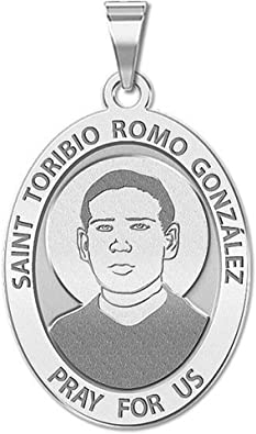Oval Religious Medal 14K Yellow or White Gold PicturesOnGold.com Saint Toribio ROMO Gonzalez or Sterling Silver