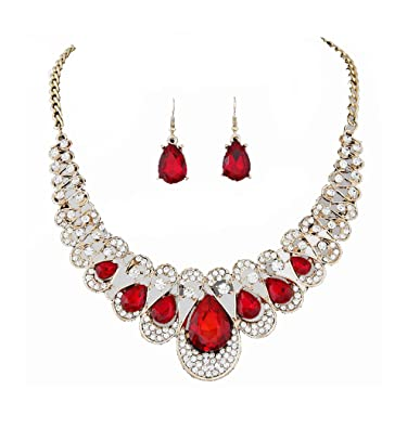 TreasureBay Costume Jewellery Crystal Chunky Statement Necklace and Earrings Set oshnG6yS
