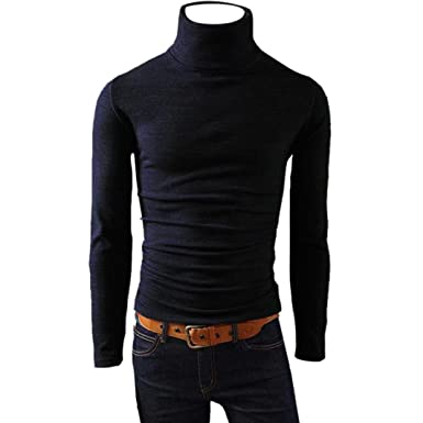 63f6420916c9 BCDshop Men Warm High Neck Cotton Blend Blouse Turtleneck Long Sleeve Top  Skivvies at Amazon Men's Clothing store: