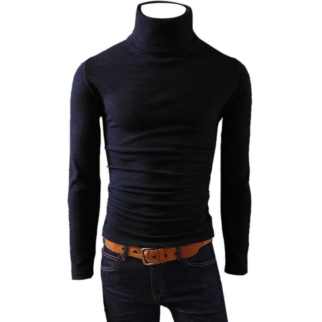 BCDshop Men Warm High Neck Cotton Blend Blouse Turtleneck Long Sleeve Top Skivvies (Black, M)