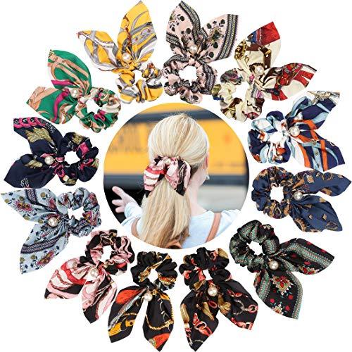 (Ondder 12 Pack Satin Scrunchies for Hair, Hair Scrunchies for Women, Bow Scrunchies for Hair, Silk Scrunchies, Cute Scrunchies, Bunny Ears Scrunchies, Yellow Scrunchies, Scrunchies for Hair with Bow)