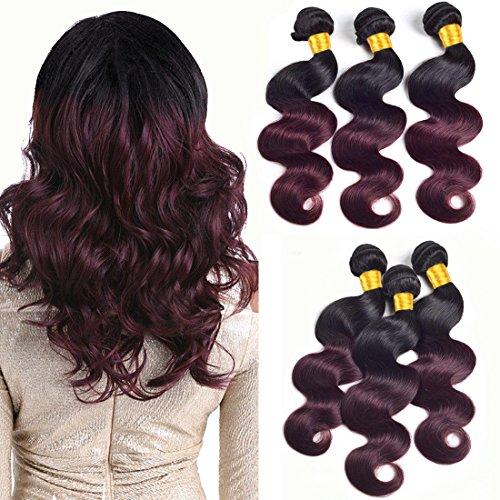 (Ombre Hair Bundles Body Wave Black To Wine Red Bundles Two Tone Human Hair Weave Brazilian Virgin Hair Extensions Remy Human Hair 3 Bundle 1B/99J Bundles Sew In Hair Weave 14 16 18 Inch)