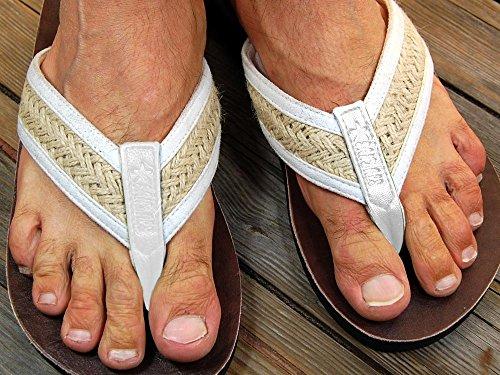 SEESTERN Herren Leder Zehentrenner Zehensandale Zehensteg Sandalen in Größe36-50 Weiß