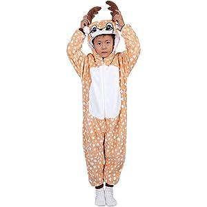 175f35bdbba4c Agoky Pyjama Animal Enfant Garçon Fille Grenouillères à Capuche Cerf Romper Body  Flanelle Combinaison Manche Longue