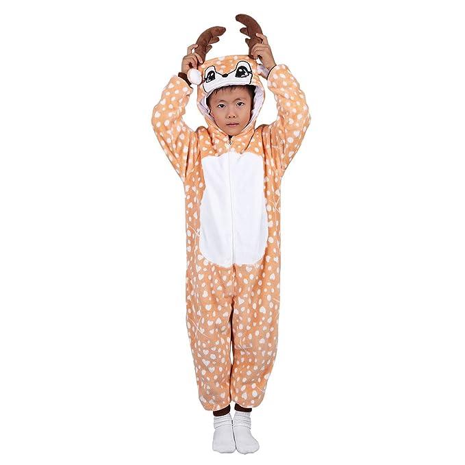 cba58624d4 iiniim Pijama Cervatillo Ciervo Reno Cuernos Forro Polar Franela para Niña  Niño Mono Animal Unisex Peluche Disfraz Cosplay Body Ropa de Dormir Traje  ...