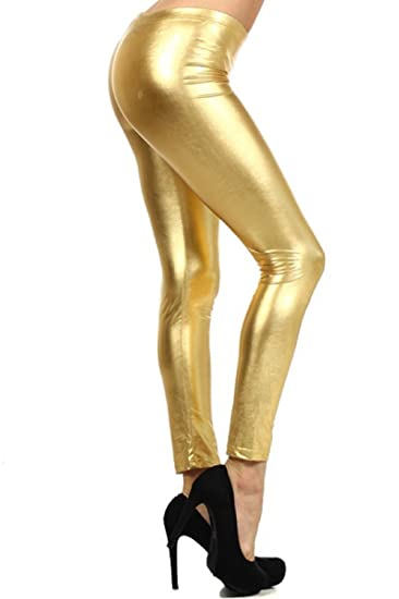Neon Nation LLC Shiny Metallic Full Length Leggings Tights Costume Pants  (Small, Gold)