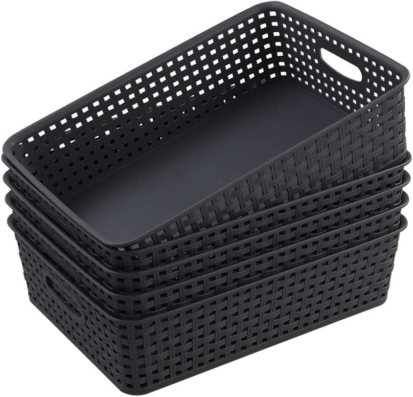 Farmoon Grey File Basket Tray, Plastic Office Storage Baskets, Letter Desktop Document Organizer, 5 Packs