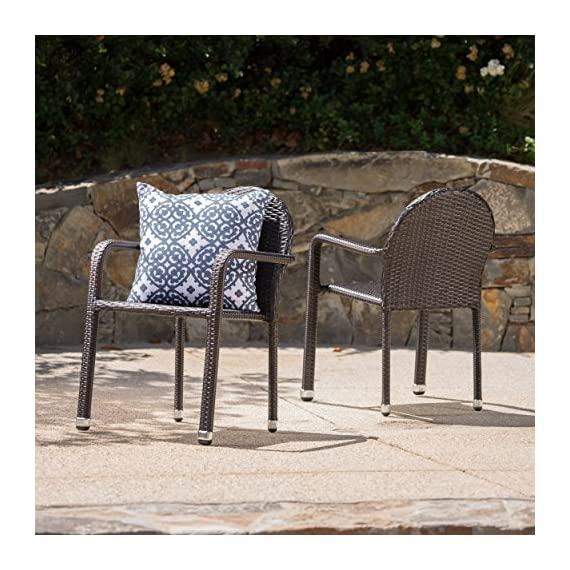 """Christopher Knight Home Aurora Outdoor Wicker Armed Stacking Chairs with Aluminum Frame, 2-Pcs Set, Multibrown - """"Includes: two (2) Dining chairs material: polyethylene wicker frame material: aluminum wicker finish: Multibrown no assembly required hand crafted details dimensions: 25.20 inches deep x 22.00 inches wide x 32.70 inches high"""" Brand name: Christopher Knight Home Made in China - patio-furniture, patio-chairs, patio - 61LggrMRKQL. SS570  -"""