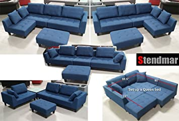 Beau New Multifunction Sectional Sofa In Blue Jean Fabric S160b