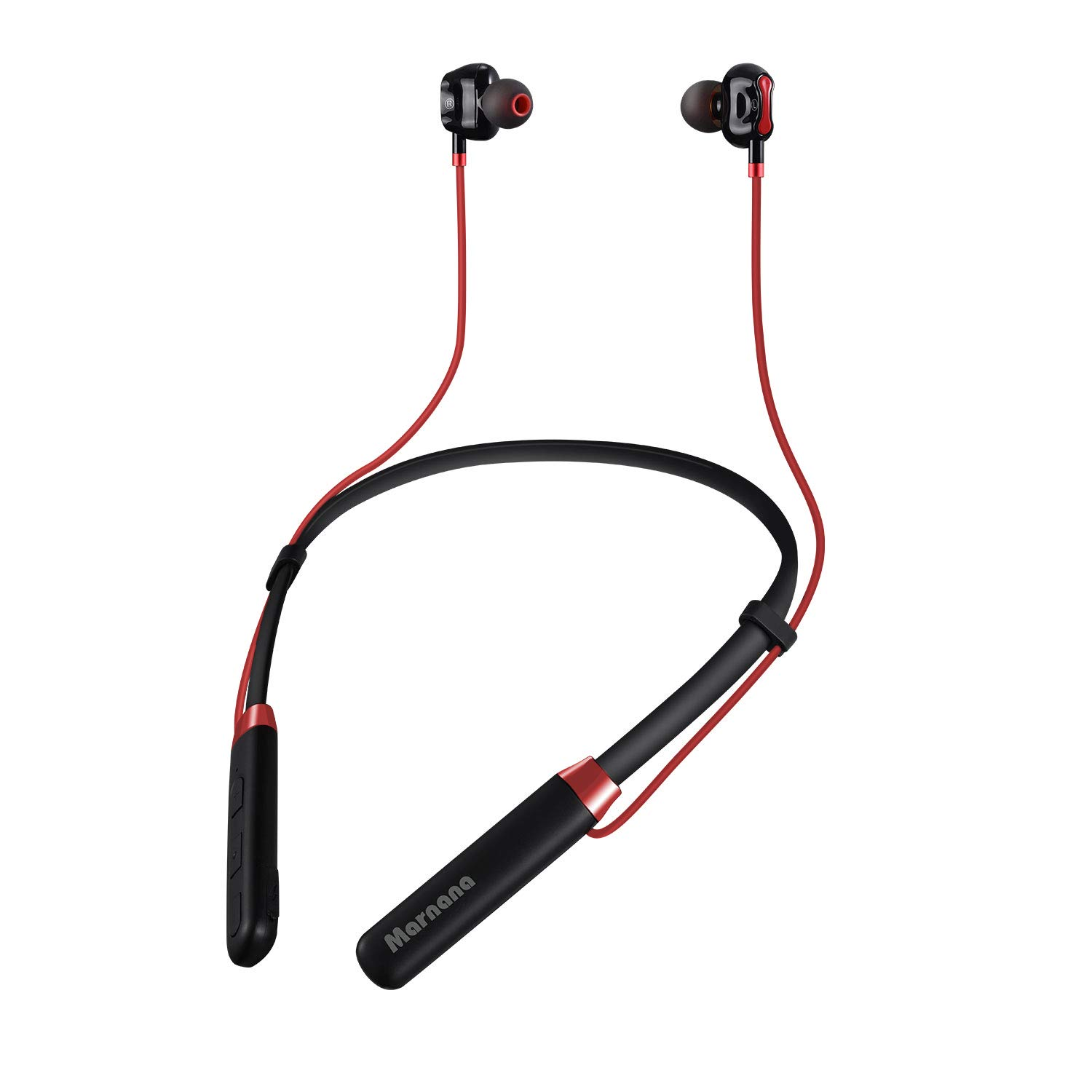 Bluetooth Headphones, Marnana Neckband Dual Dynamic Drivers Wireless Sports Earphones with CVC6.0 Mic, IPX5 Water-Resistant Magnetic in-Ear Earbuds for Running Gym Workout iPhone Samsung Android - Red