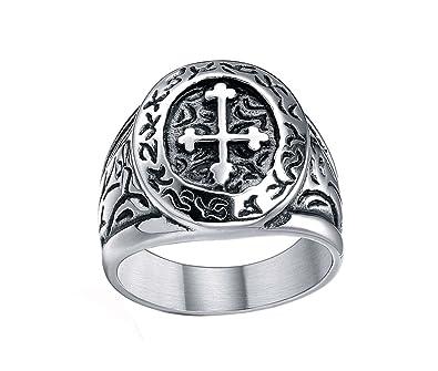 Stainless Steel Celtic Cross Band Vintage Medieval Biker Ring for