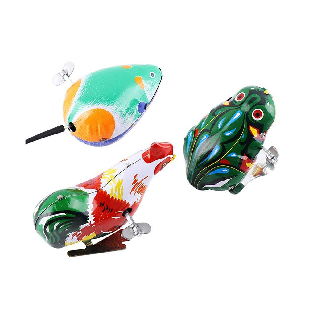 Toyvian Giocattolo Classico del Giocattolo di Vento del Giocattolo dei Bambini del Giocattolo del Ferro di Salto a orologeria 3pcs