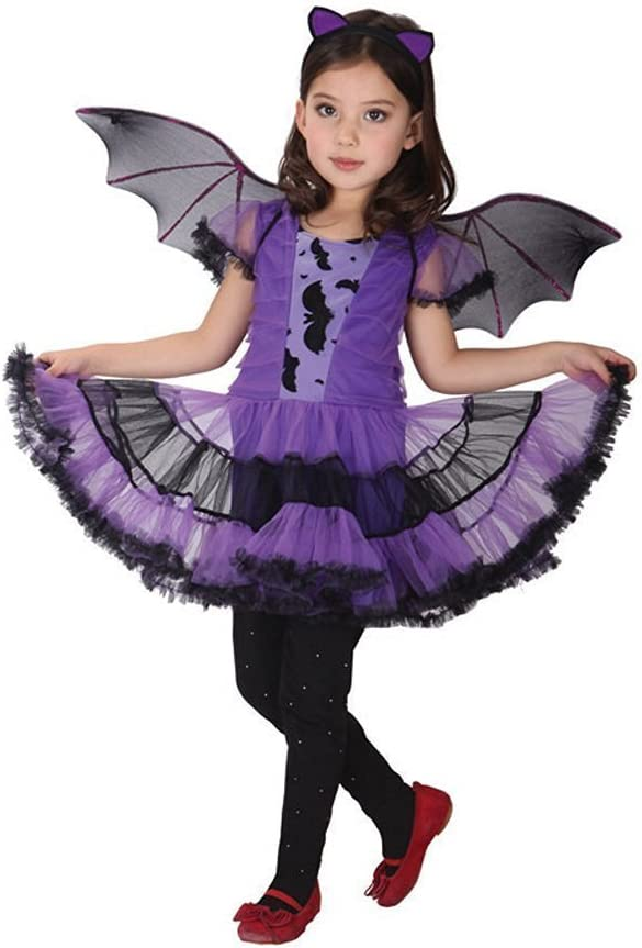 JT-Amigo Disfraz de Murciélago para Niña Halloween, 7-8 años ...