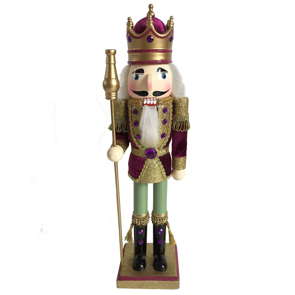 Christmas Holiday Wooden Nutcracker Figure Soldier King with Traditional Maroon Velvet and Gold Glitter Uniform and Crown with Sparkle Rhinestone and Braided Details, Large, 15 Inch