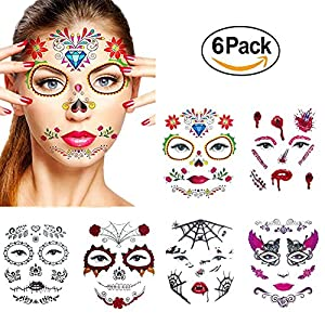 Halloween Temporary Face Tattoos,WenMei Skull Scar Spider Blood Bat Rose Floral Fake Tattoos Sticker for Women Men Kids Boys With 6 Realistic Full Face Tattoo Mask Waterproof