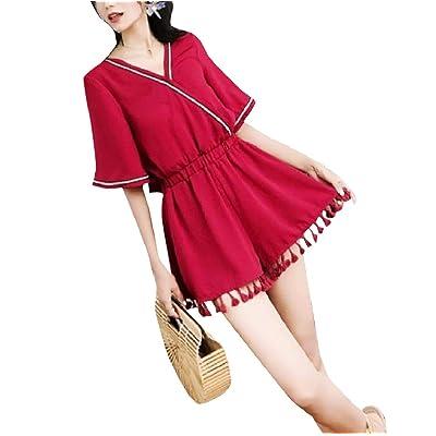 Andopa V-cuello caliente pantalones flojos general PLAYSUIT cortos mamelucos para Mujeres Vino rojo Grande: Ropa y accesorios