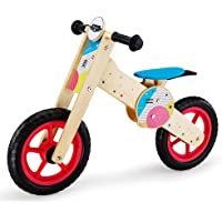 Rovo Kids Wooden Balance Bike, Natural, Pink and Multi-coloured