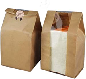 Pack of 50 Paper Bread Bag Kraft Food Packaging Storage Bakery Bag with Front Window, Label Seal sticker included (12.2''x4.7''x3.54'') (Kraft)
