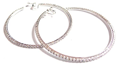 06a6b5300852 Amazon.com  Clip-on Earrings Rhinestone Crystal Hoop Earrings Silver ...
