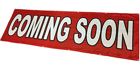 4Less 3x10 Ft Coming Soon Banner Vinyl Alternative Store Sign (red) Fabric