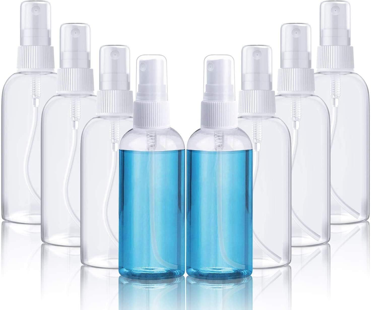Botella De Spray, Botella De Spray De Plástico Transparente Vacía, Set De Líquido De Viaje De Vacaciones, Viaje De Negocios, Maquillaje, Limpieza, Desinfección, 8pcs (100 Ml)