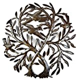 Metal Tree of life with birds, Double Tree, Rustic Farmhouse decor, Handmade in Haiti, Novelty Gift 21.5″ X 22.75″ For Sale